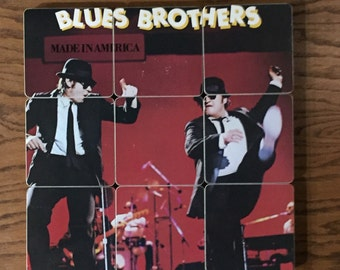Blues Brothers Band wood coasters & warped record bowl created from recycled Made in America album