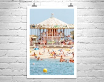 Beach Picture, Carousel Photo, France Beach, Merry Go Round, France Photography, Lacanau Ocean, Pastel Photo, Seaside Art, MurrayBolesta