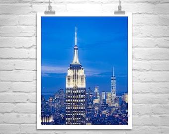 New York at Night, NYC Skyline, Empire State Building, Photo on Canvas, Urban Art, New York City, Manhattan, Cityscape, City Art, Blue Art