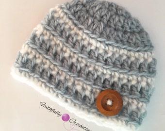 Newborn boy beanie.. Wood button hat.. Photo prop.. Ready to ship