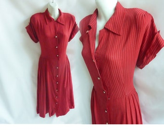 Vintage 40s Dress Size L Red Pinstripe Rayon WWII Pin Up 50s Shirtwaist Frock
