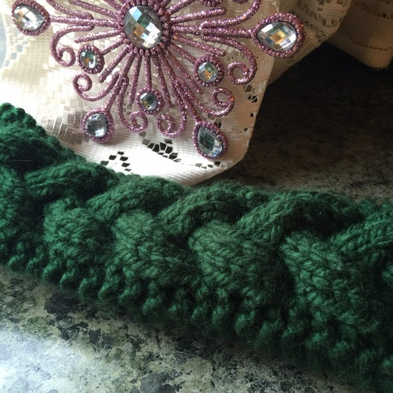 Hand Knit Head Band Wool Blend Cable Winter Fashion Forest Green
