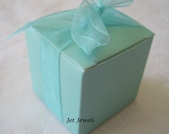 20 Gift Boxes, Wedding Favor Boxes, Aqua Blue, Candy Box, Party Favor Boxes, Small Boxes, Folding Boxes, Gift Box 2x2x2