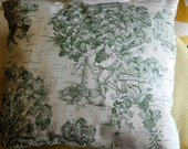 """SALE, NEW Toile French Country Sage green on ivory pillow cover, 12"""" or 14"""" square, toss, throw pillow."""