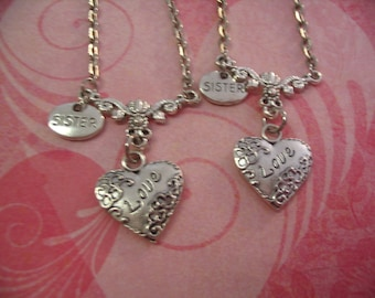 2 Sisters Love Heart Necklace Set for Sisters Jewelry Gift