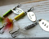 FREE SHIPPING- Personalized Handstamped Fishing Lure hook. Customized for you! Perfect Stocking Stuffer for Dad or Grandfather!