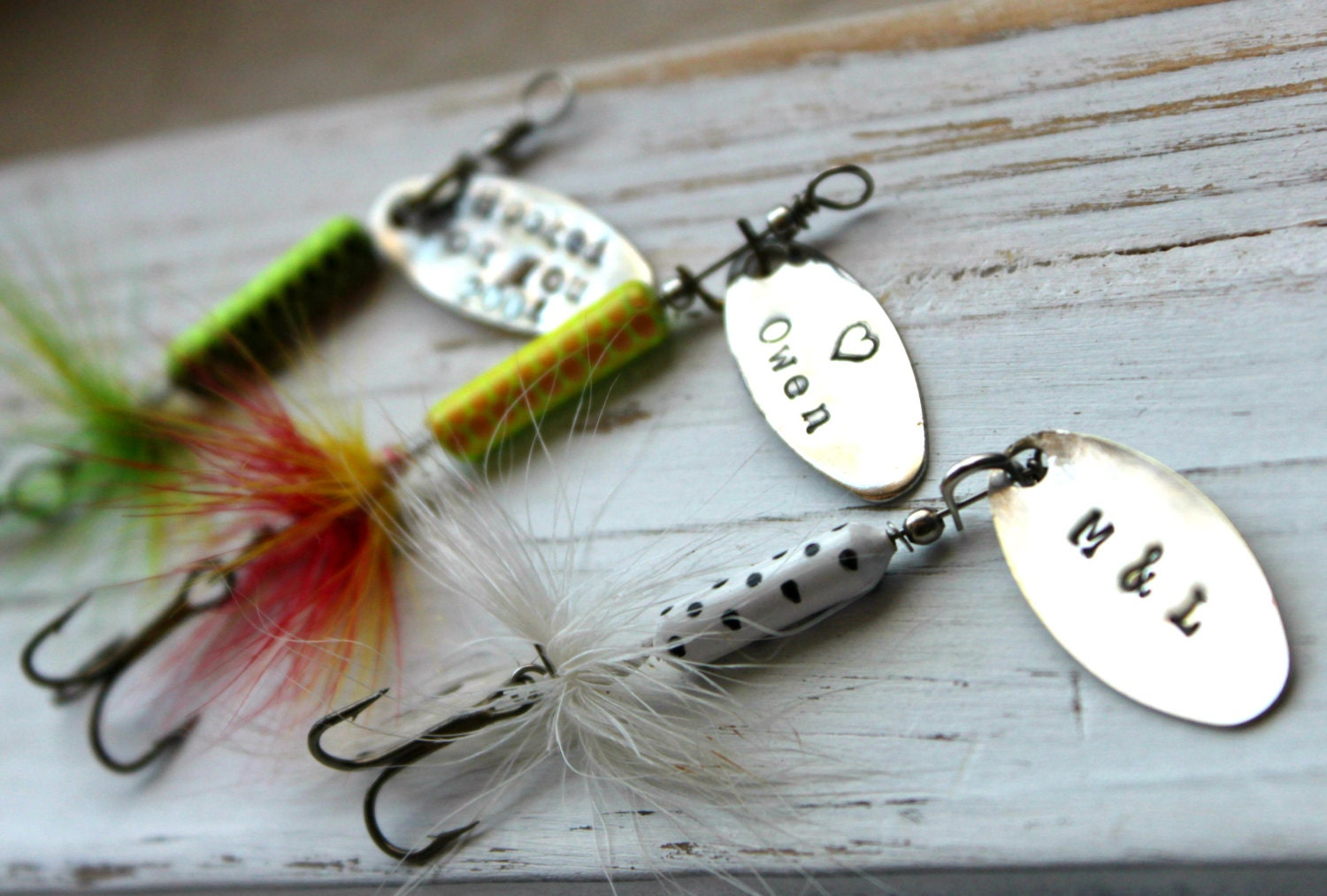 Free shipping personalized handstamped fishing lure hook for Engraved fishing lures