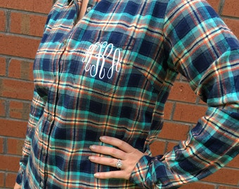 Monogrammed Plaid Flannel Shirt - Midnight Plaid - Personalized Flannel Shirt, Bride Flannel Shirt, Bridesmaid Flannel Shirt, Fall Flannel,