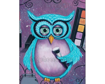 Glam Owl ACEO PRINT Whimsical Owl Cute Makeup Lovers Lipstick Eyeshadow Purse Beauty Glamour Bright Colors ATC Artist Trading Card
