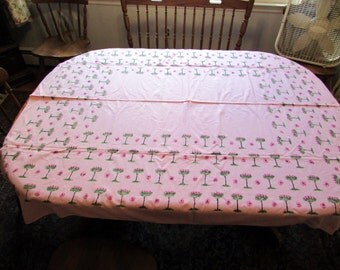 Vintage pink cotton tablecloth with rose tree design 50X58 rectangle