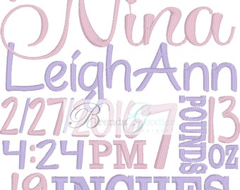 Baby Boy/Baby Girl Birth Announcement/Saying/Embroidery Design/Made to Order/Custom Design/Personalized Design/4x4 or 5x7