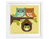 61 Owl Nursery Art - Owl Family in Tree Wall Art - Woodland Home Decor - Woodland Wall Art - Owl Nursery Decor - Owl Wall Art - Owl Print