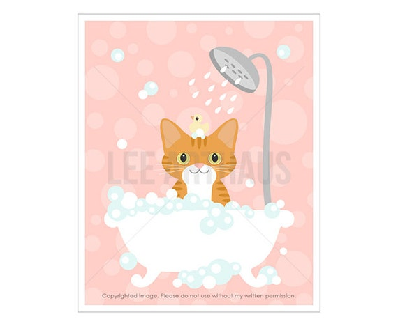 14F Cat Art - Ginger Tabby Cat in Bubble Bath Wall Art - Cat Wall Art - Cat Lover Gift - Cat Print - Pink Wall Art for Girls - Pink Bath Art