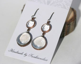 Stained glass crystal clear cabochon drop earrings with antique copper finish