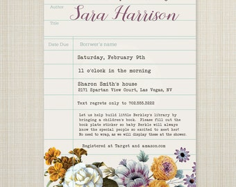 baby book shower invitation, book shower brunch, baby shower invitation, baby shower, book shower - baby library.