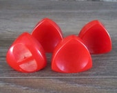 Bakelite Sewing Buttons - Dull Red - Set of Four