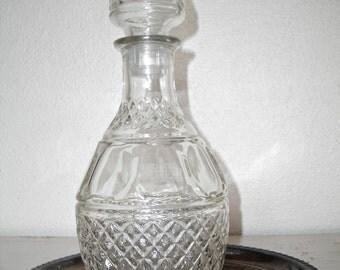 decanter for your bar - pressed glass liquor bottle - mad men shabby cottage chic - hollywood regency - hipster barware