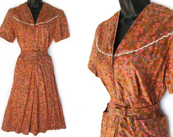 Vintage 50s Geometric Print Cotton Day Dress S