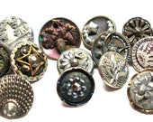 Antique buttons, mixed lot of 13 Victorian metal & cut steel with stars.