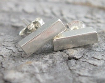 Chunky petite sterling bar earrings, sterling bar post earrings with brushed finish