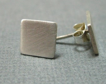 Brushed petite sterling square studies, square silver post earrings with brushed finish