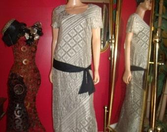 Vintage  90s Flapper Dress Lace  Metallic  Tea party Holiday  Size 9/10