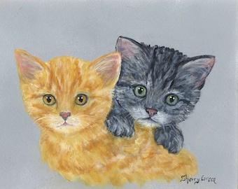 Two Tabby Kittens, original painting