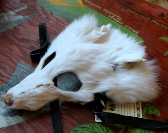 Real eco-friendly white Arctic fox fur mask - shaped and glasses friendly - for ritual, dance, costume and more