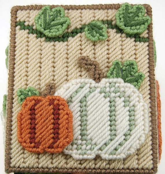 Pattern Fall Harvest Plastic Canvas Tissue Box Cover From