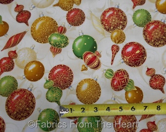 Winter's Graundeur Christmas Metallic Red Green Balls BY YARDS RK Cotton Fabric