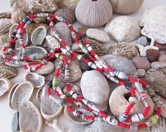 Red gray paper beads  multistrand necklace
