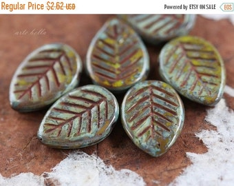 10% off FALLEN ASPEN .. 6 Picasso Czech Glass Leaf Beads 16x12mm (3218-6)