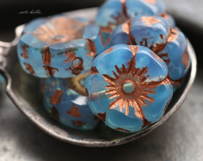 SKY COPPER PANSY .. 6 Picasso Czech Glass Flower Beads 12mm (5464-6)
