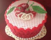 Fake Cake Centerpiece/ Birthday Gift Box/Kitchen storage in red polka dots & white with cherries on top/retro vintage 50s look