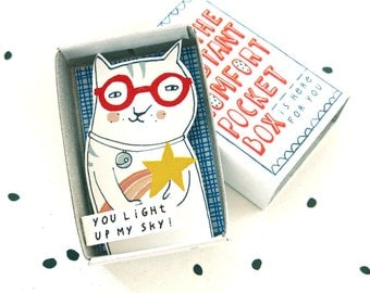 The Instant Comfort Pocket Box - cat with shooting star - you light up my sky - cheer up box