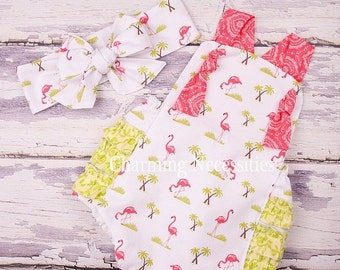 SALE Baby Girl Clothes, Toddler Girl Clothes, Sunsuit Bubble Romper Spring Summer Flamingo Island by Charming Necessities