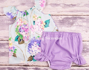 Baby Girl Clothes, Toddler Girl Clothes, Baby Girl Coming Home Outfit,  Baby Shower,  Flutter Top and Diaper Cover in Delightful Mint