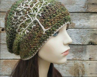 Slouchy Hat with Tree of Life, Slouchy Beanie with Tree, Dread Hat, Tam Hat, Slouch Hat, Green, Red, Purple, and Beige, MADE TO ORDER