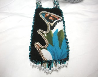 FREE SHIP Modern Abstract Leaf Peeping Tunic Long Necklace in black, silver, turquoise, touch of coral  BearlyArtDesigns