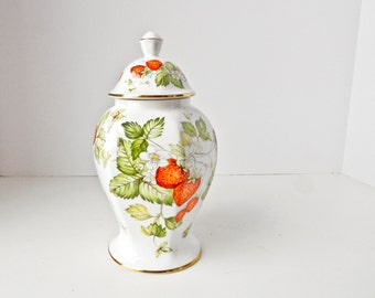 Bone China Jar, Strawberry Butterfly Design, English Biscuit Cookie Jar