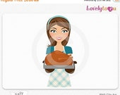 SALE Thanksgiving woman with turkey, cooking girl digital PNG (Sally 470)