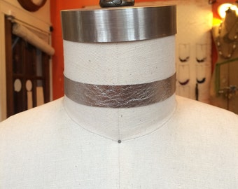Metallic silver leather choker necklace and headband