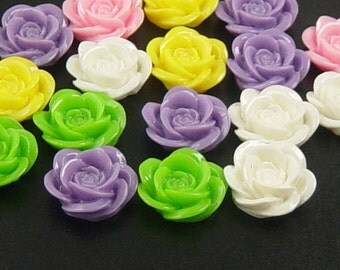 CLEARANCE Grab Bag Cabochon Flower 17 Resin Round Rose Flower Opaque 18mm Widows Orphans Findings Supplies (182grab1)os