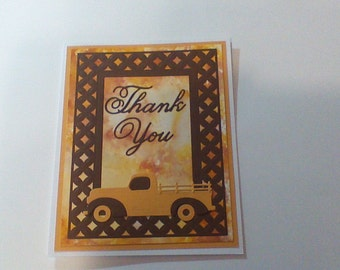 Thank You Card yeloow and brown with truck