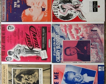 Sheet Music Vintage 1930's and 1940's Lot of 6