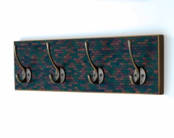Wall Coat Rack Handmade Paper Jewel Tones Mosaic Subway Striped Tiles Recycled Wood Wedding Gift Wall Storage Masculine Closet Wall Hooks