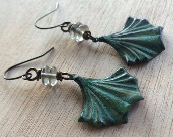 Patina and Gray Dangle Earrings