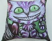 Wonderland Alice and Cheshire Cat Pillow Made From A Print of My Artwork