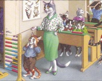 Mainzer cat postcard, cats postcard - Vintage Postcard Cat School - Math Lesson Mainzer postcard, dressed cats 4914
