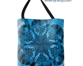 Large tote bag with original artwork 18x18  printed on both sides made to order blue waves buildings moons stars trees rustic boho